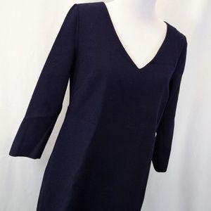 J.Crew Sz 8 Dress Midnight Blue Knee Length V Neck